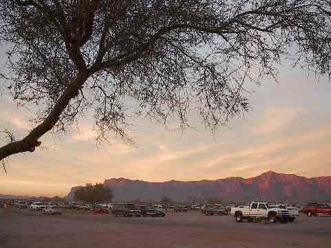 Parking lot with Superstition Mountian View