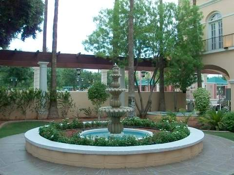 San Marcos fountain and shady pergola