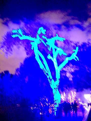 neon blue lights on a tree